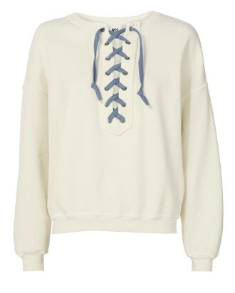 Lace-Up Sweatshirt, IVORY, hi-res