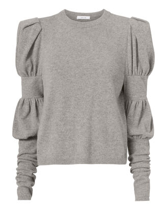 Puffed-Sleeve Sweater, GREY, hi-res