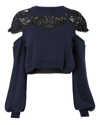 Lace Appliqué Drop Sleeve Cropped Sweatshirt, NAVY, hi-res