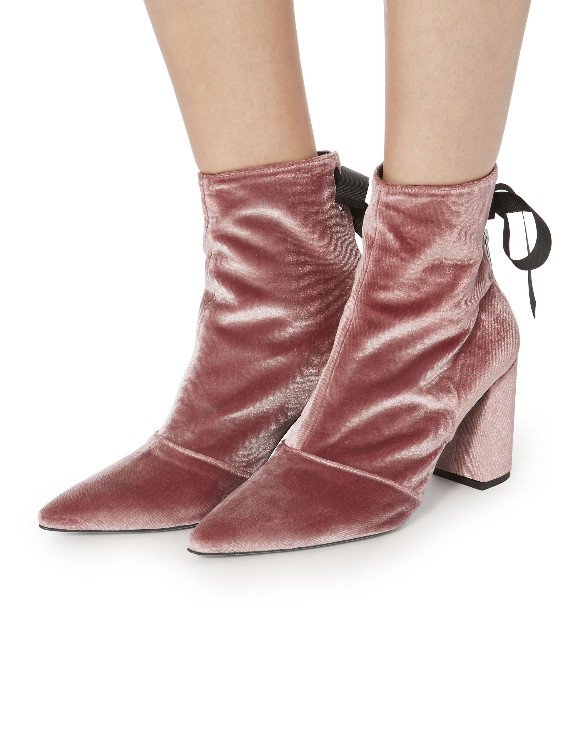 Robert Clergerie X Self-Portrait Karli Pink Velvet Lace-Up Booties, PINK, hi-res
