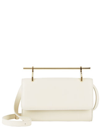Fabricca Ivory Leather Shoulder Bag, IVORY, hi-res
