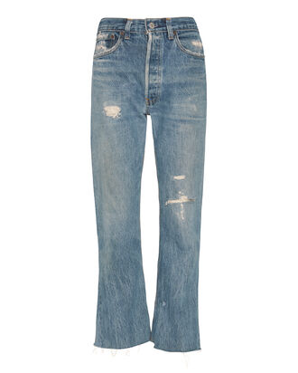 Leandra High-Rise Rip Crop Flare Jeans, DENIM, hi-res