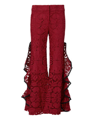 Brice Lace Wide Leg Pants, RED, hi-res