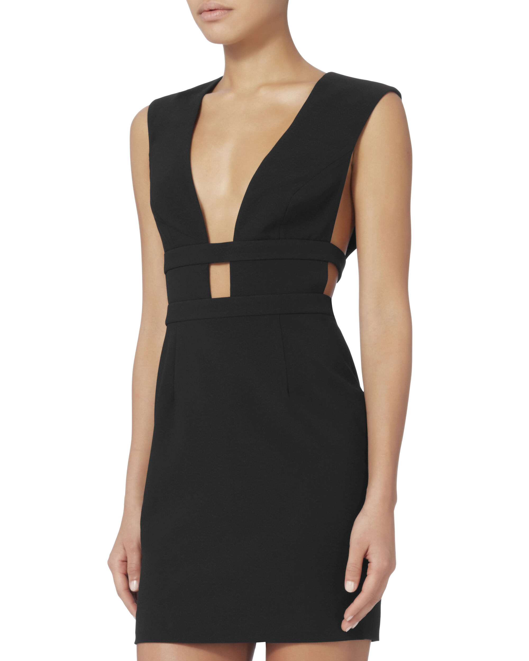 Redding Black Deep-V Mini Dress, BLACK, hi-res