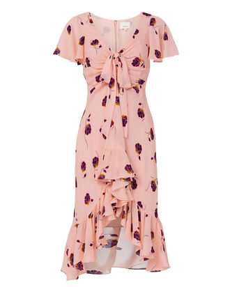 Mateo Silk Floral-Print Dress, PINK, hi-res