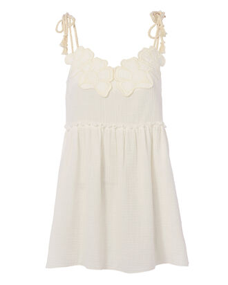 Floral Cotton Mini Dress, WHITE, hi-res