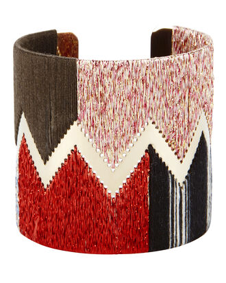 Red Lurex Chevron Cuff, RED, hi-res
