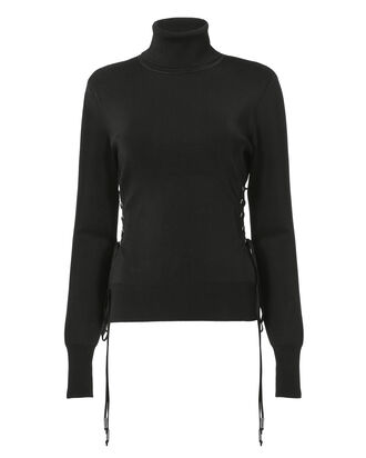 Mock Neck Lace-up Sweater, BLACK, hi-res