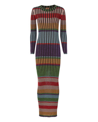 Multicolor Striped Lurex Maxi Dress, MULTI, hi-res