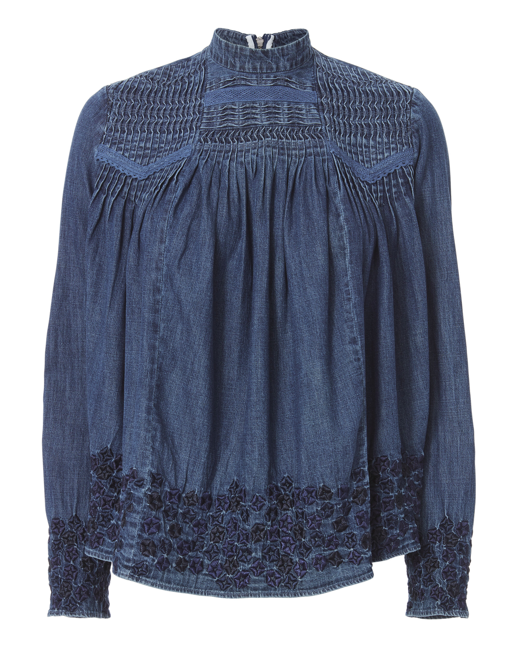 Denim Embroidered Top, DENIM-DRK, hi-res