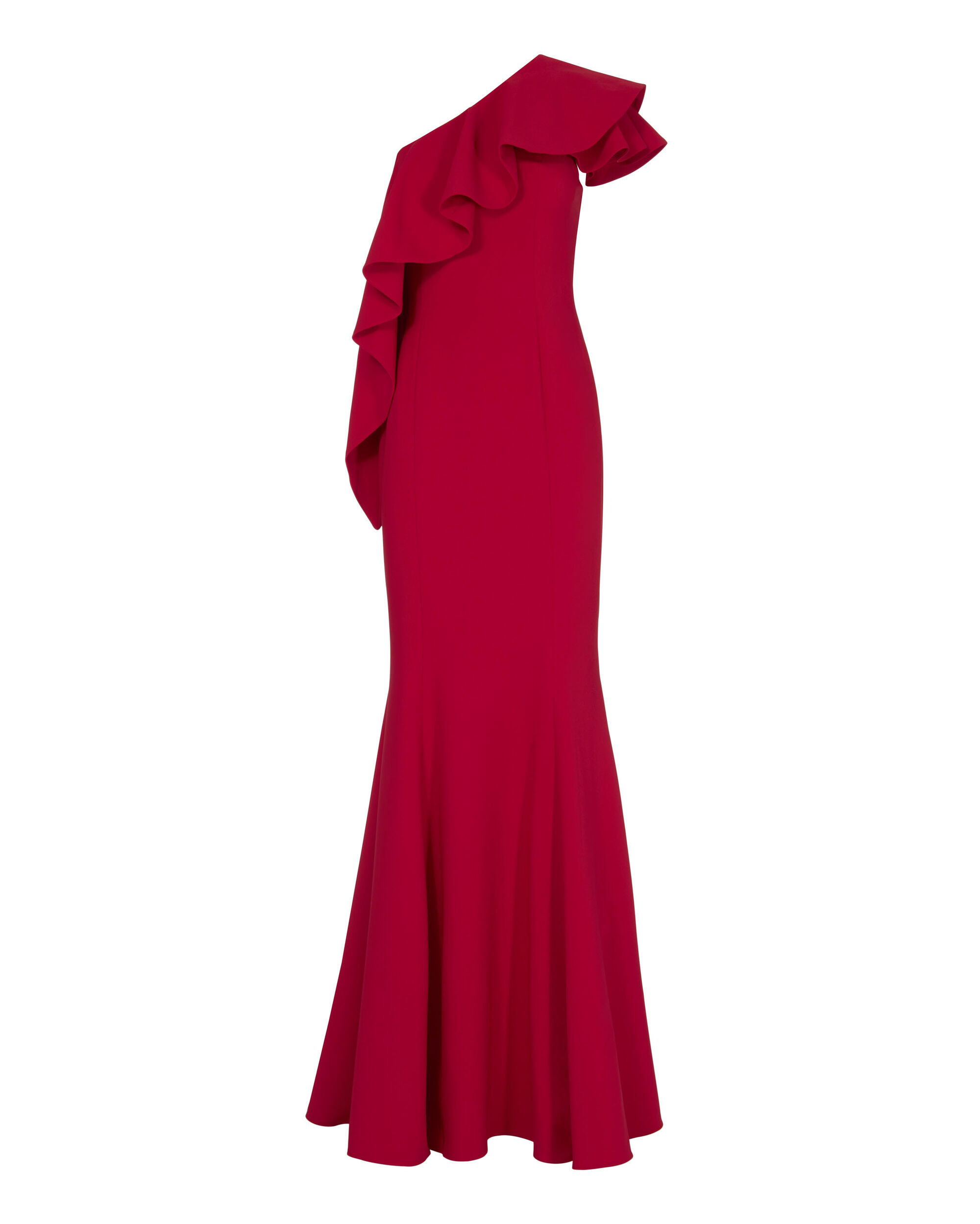 Taj One Shoulder Red Gown, RED, hi-res