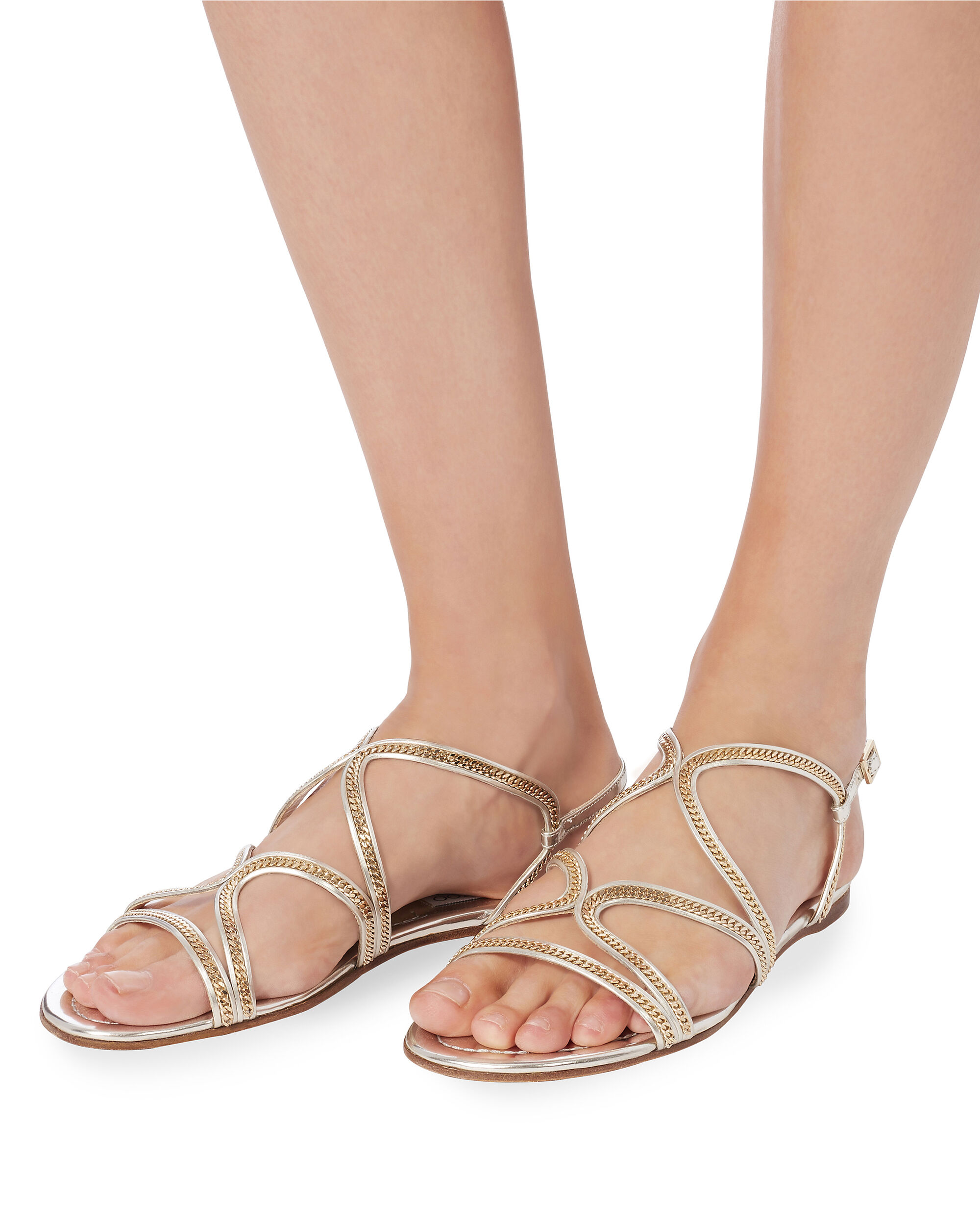 Nickel Strappy Flat Sandals, GOLD, hi-res