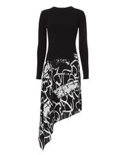 Printed Georgette Asymmetrical Knit Dress, BLACK/WHITE, hi-res