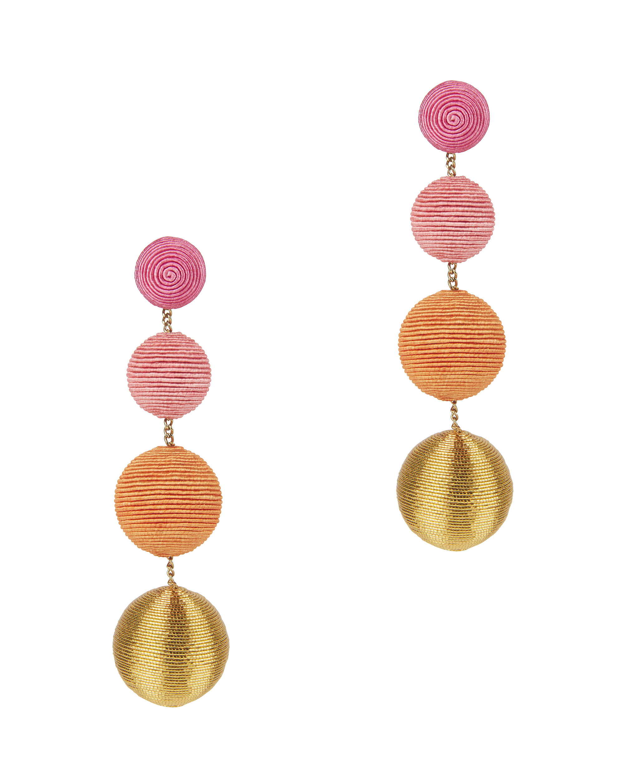 Silk Metallic Cord Gumball Drop Earrings, PINK, hi-res