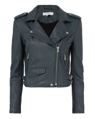 Ashville Blue Cropped Leather Jacket, BLUE, hi-res
