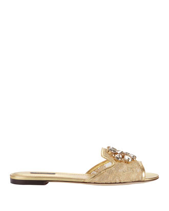 Jeweled Gold Lace Flat Sandals, METALLIC, hi-res