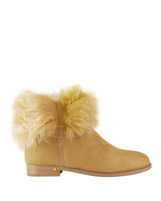 Serlin Shearling Suede Booties, NUDE, hi-res