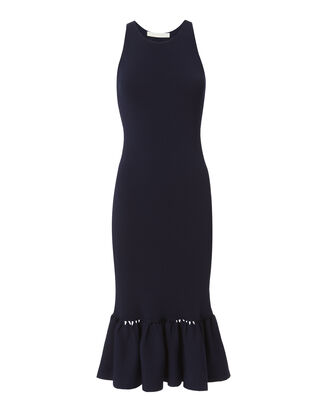 Slashed Knit Trumpet Hem Navy Dress, NAVY, hi-res
