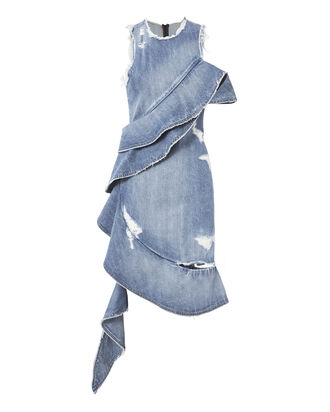 Asymmetrical Ruffled Denim Dress, BLUE, hi-res