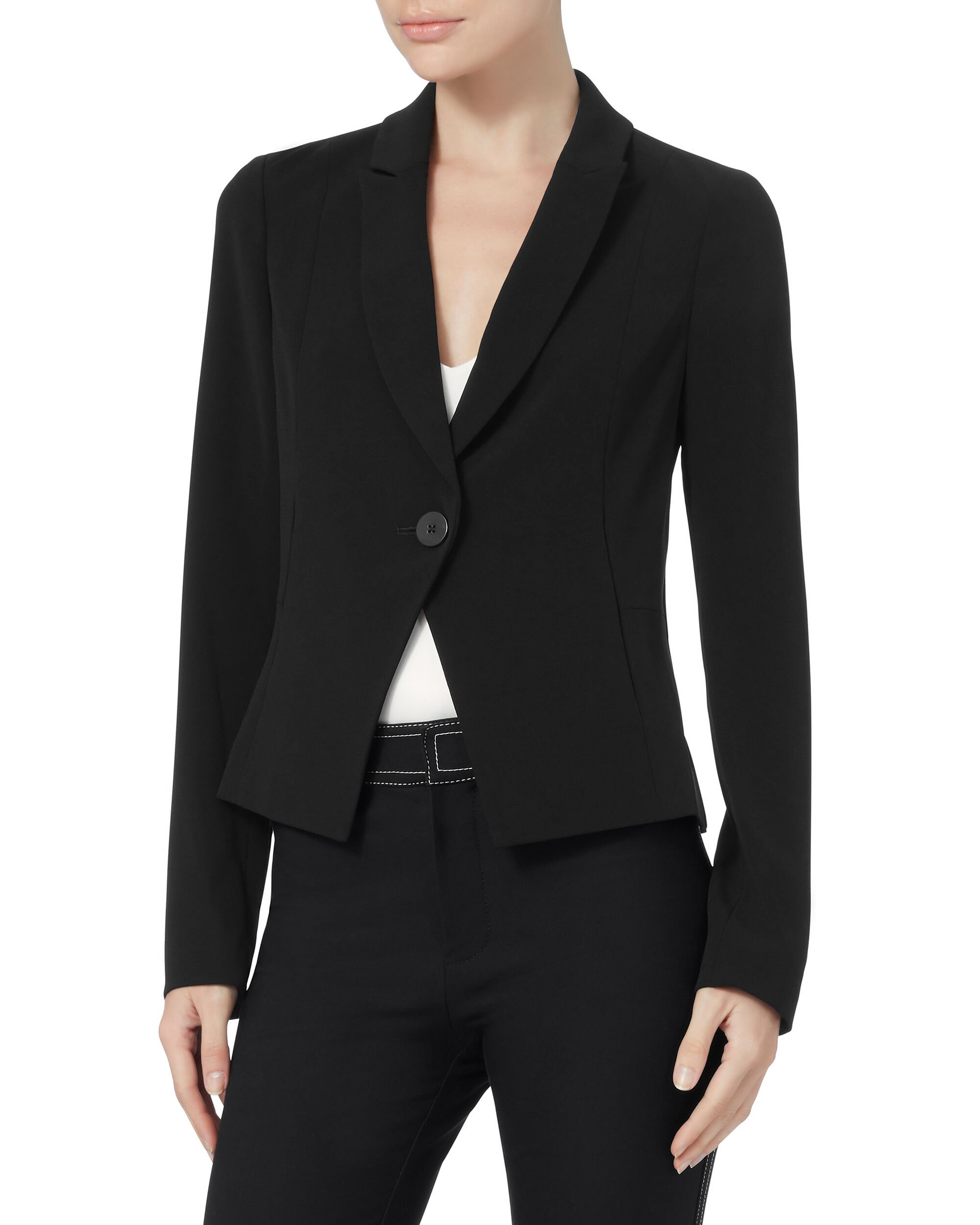 Black Crepe Fluid Blazer, BLACK, hi-res