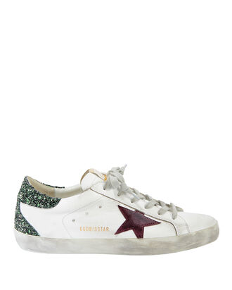 Superstar Green Glitter Low-Top Sneakers, WHITE, hi-res