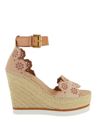Raffia Flower Suede Wedge Espadrilles, BLUSH, hi-res