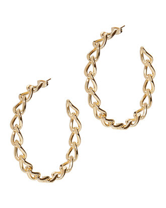 Curved Chain Link Hoops, GOLD, hi-res