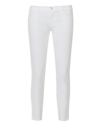 Braided Cropped Skinny Jeans, WHITE, hi-res
