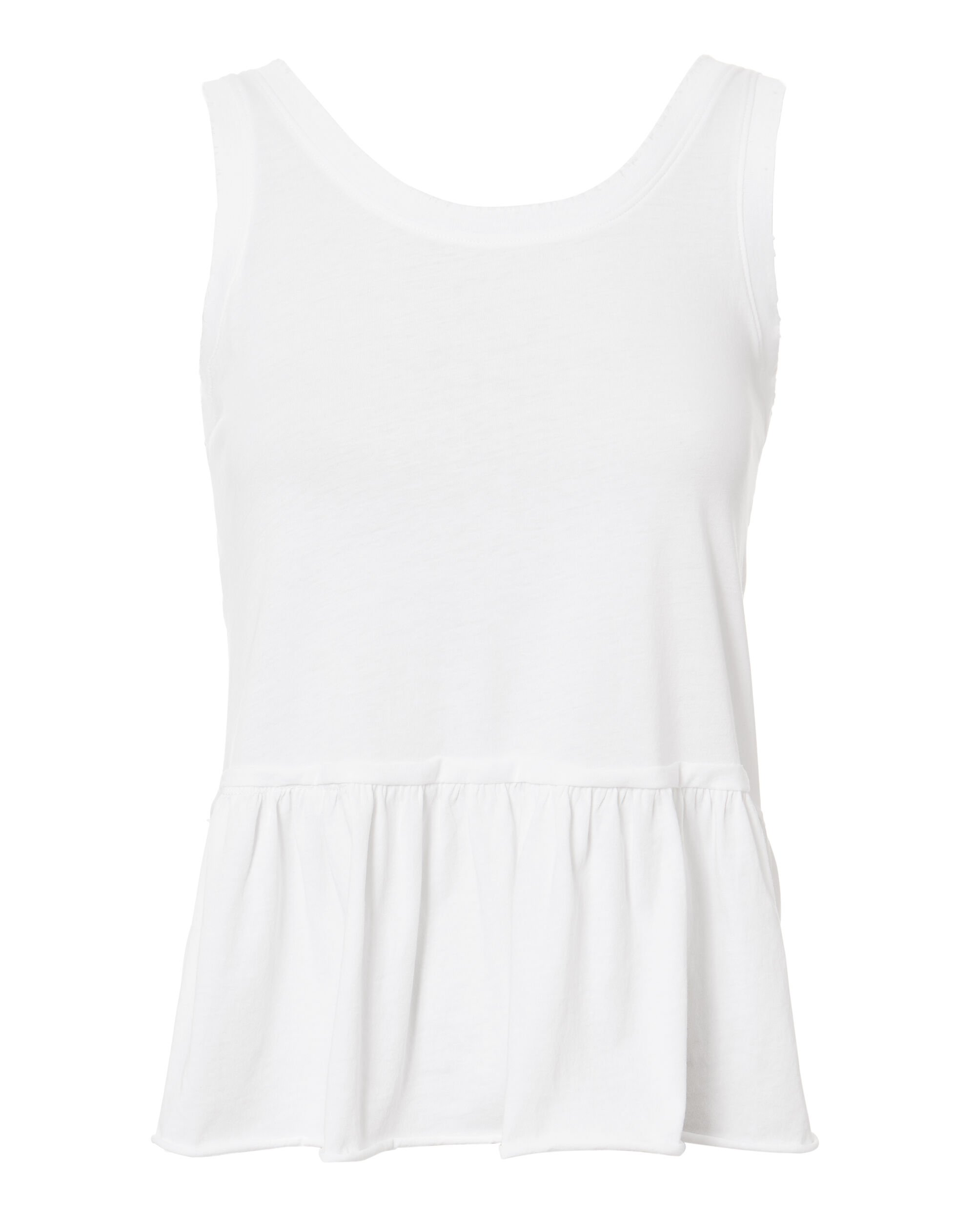 V-Back Ruffle Tank, WHITE, hi-res
