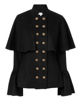 Johan Bell Sleeve Black Coat, BLACK, hi-res