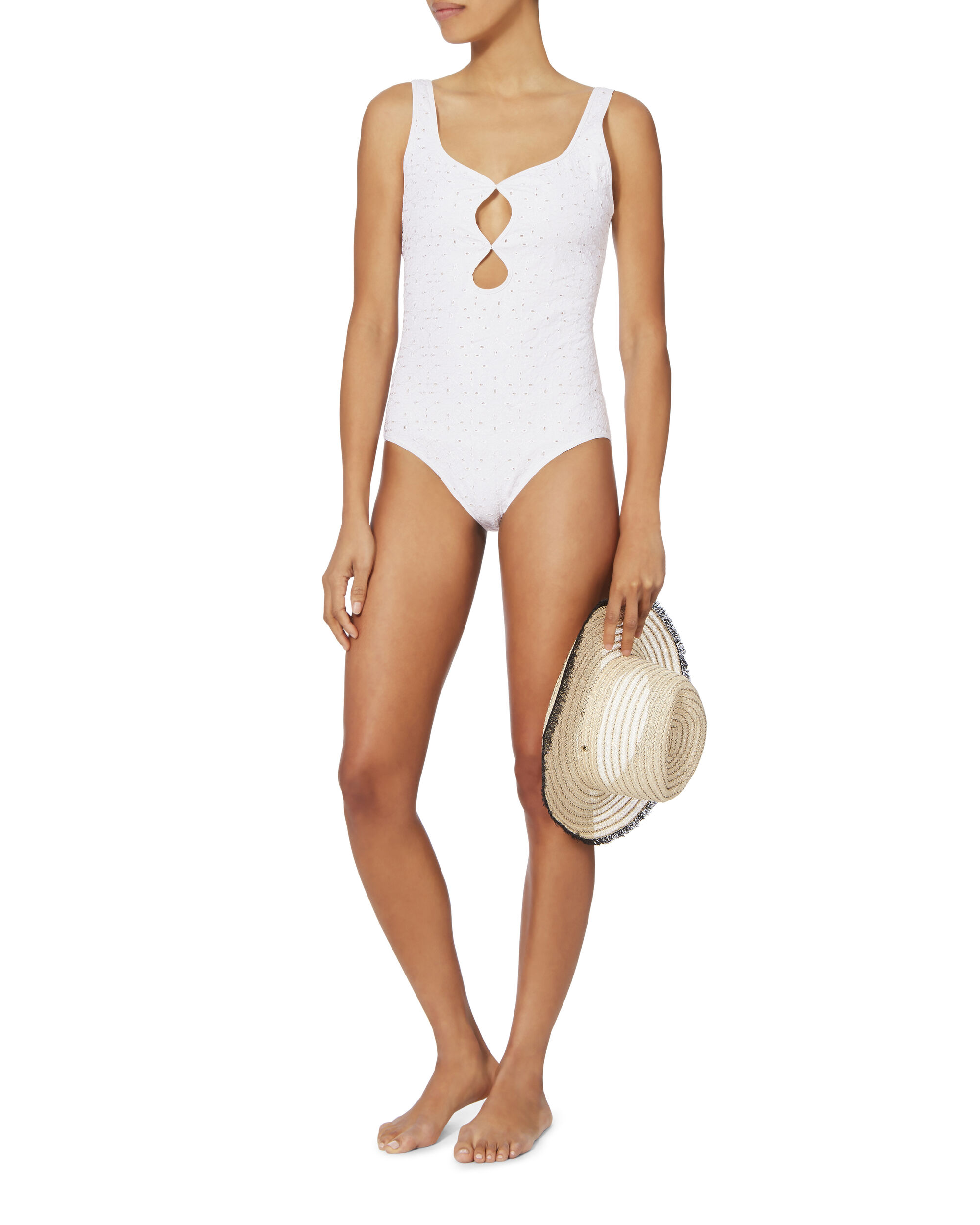 Scallop Trim Eyelet One Piece Swimsuit, WHITE, hi-res