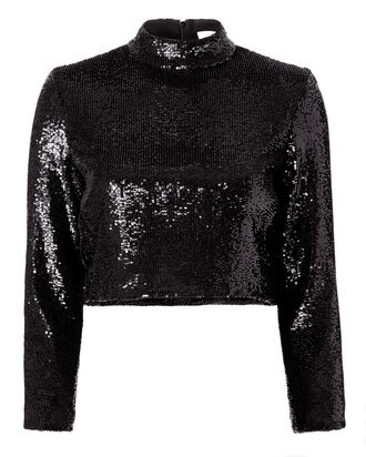 Keegan Sequin Black Crop Top, BLACK, hi-res