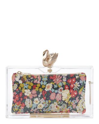 Pandora Transparent Floral Clutch, CLEAR, hi-res