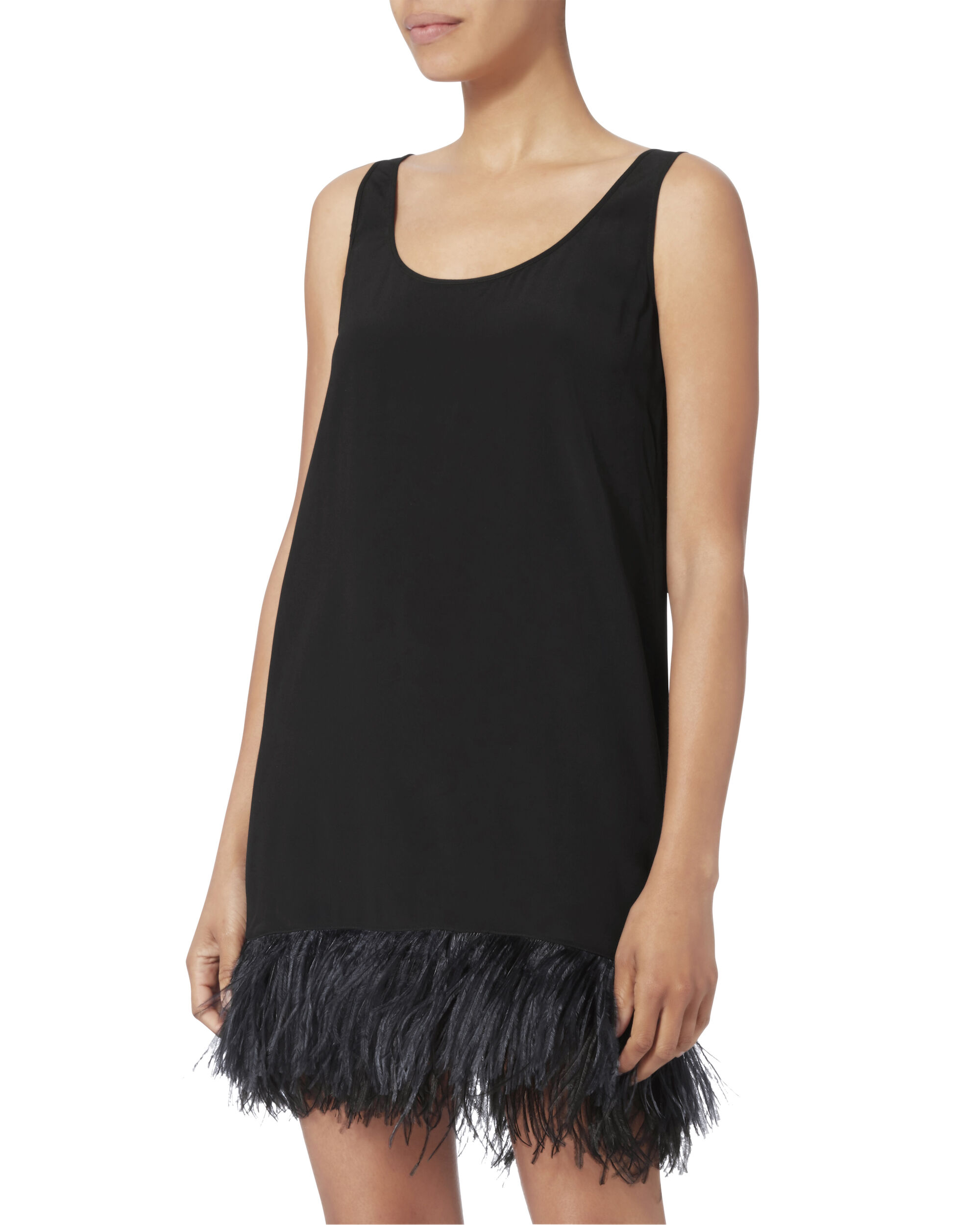 Olga 2-in-1 Feather Detail Cocktail Dress, BLACK, hi-res