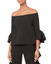 Reverberation Off Shoulder Top, BLACK, hi-res