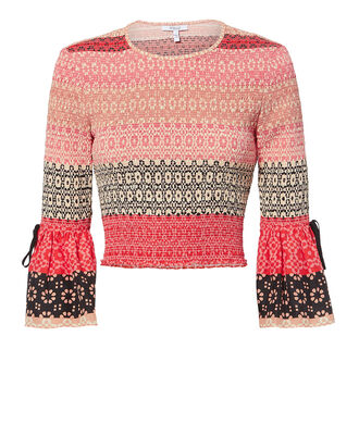 Smocked Bell Sleeve Crop Top, PINK, hi-res