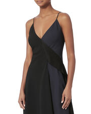 Two-Tone Asymmetrical Cami Dress, BLACK, hi-res