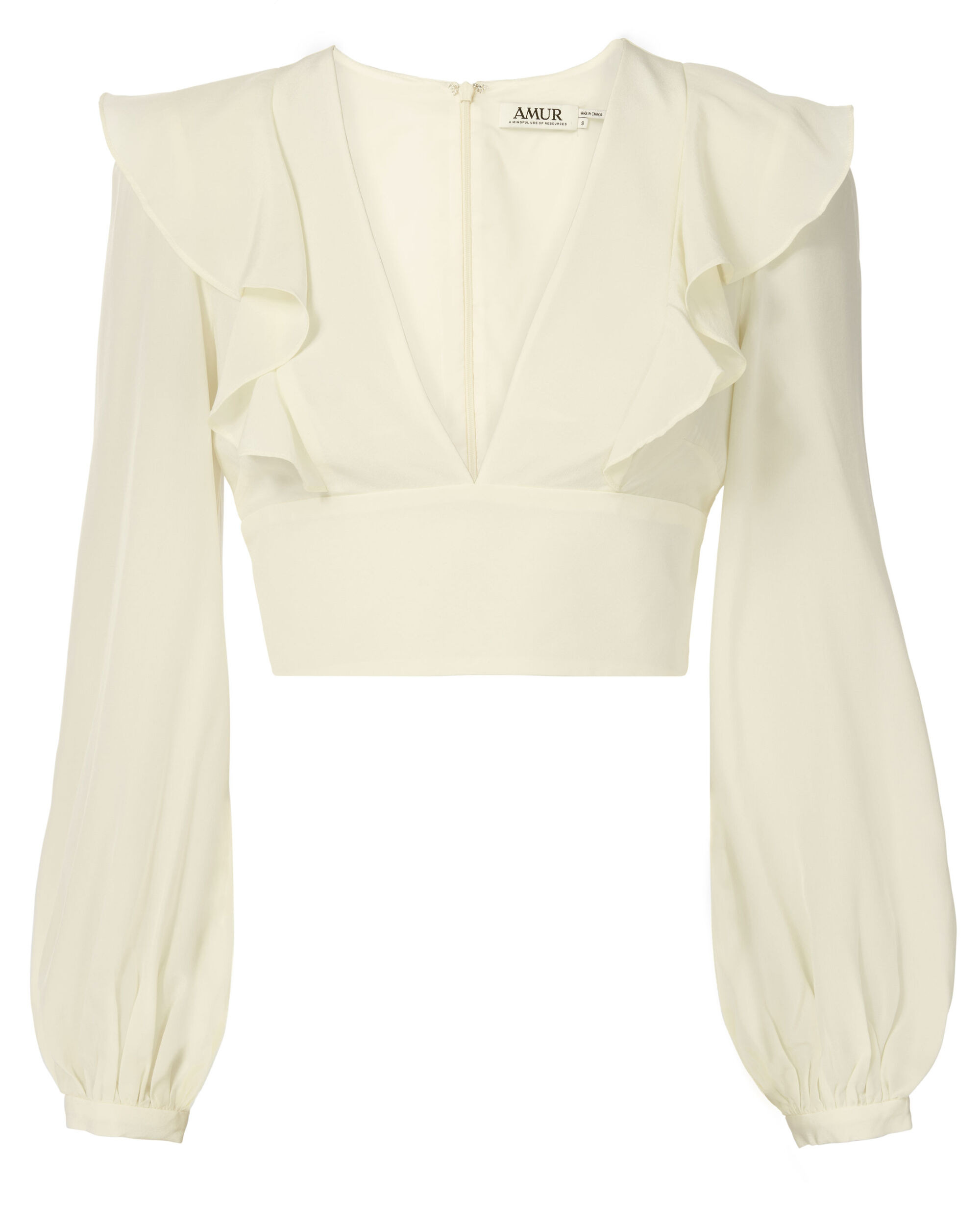 Sabrina Blouson Sleeve Crop Top, WHITE, hi-res