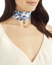 Adira Indigo Bandana Neck Piece, BLUE, hi-res