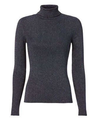 Lurex Knit Turtleneck, BLUE, hi-res