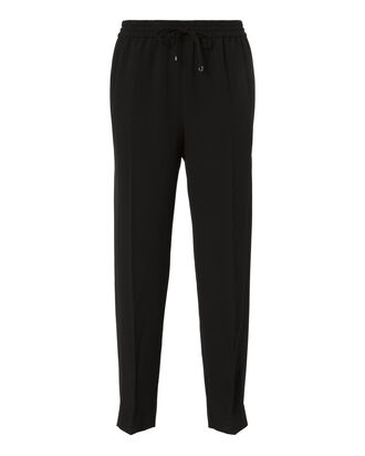 Satin Crepe Skinny Pants, BLACK, hi-res