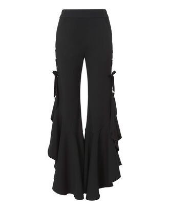 Black Grommet Ruffle Pants, BLACK, hi-res