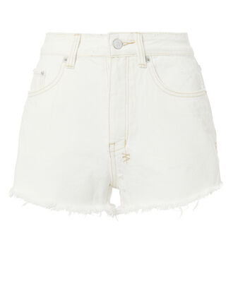 Tongue And Cheek Cut Off White Shorts, WHITE, hi-res