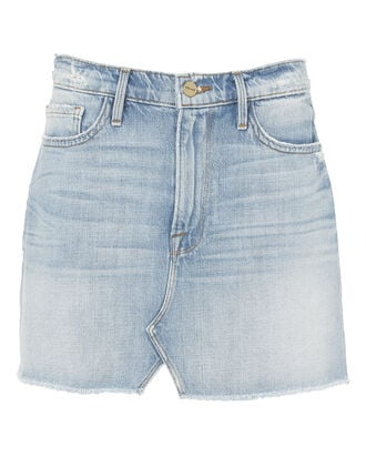 Split Front Denim Mini Skirt, DENIM, hi-res