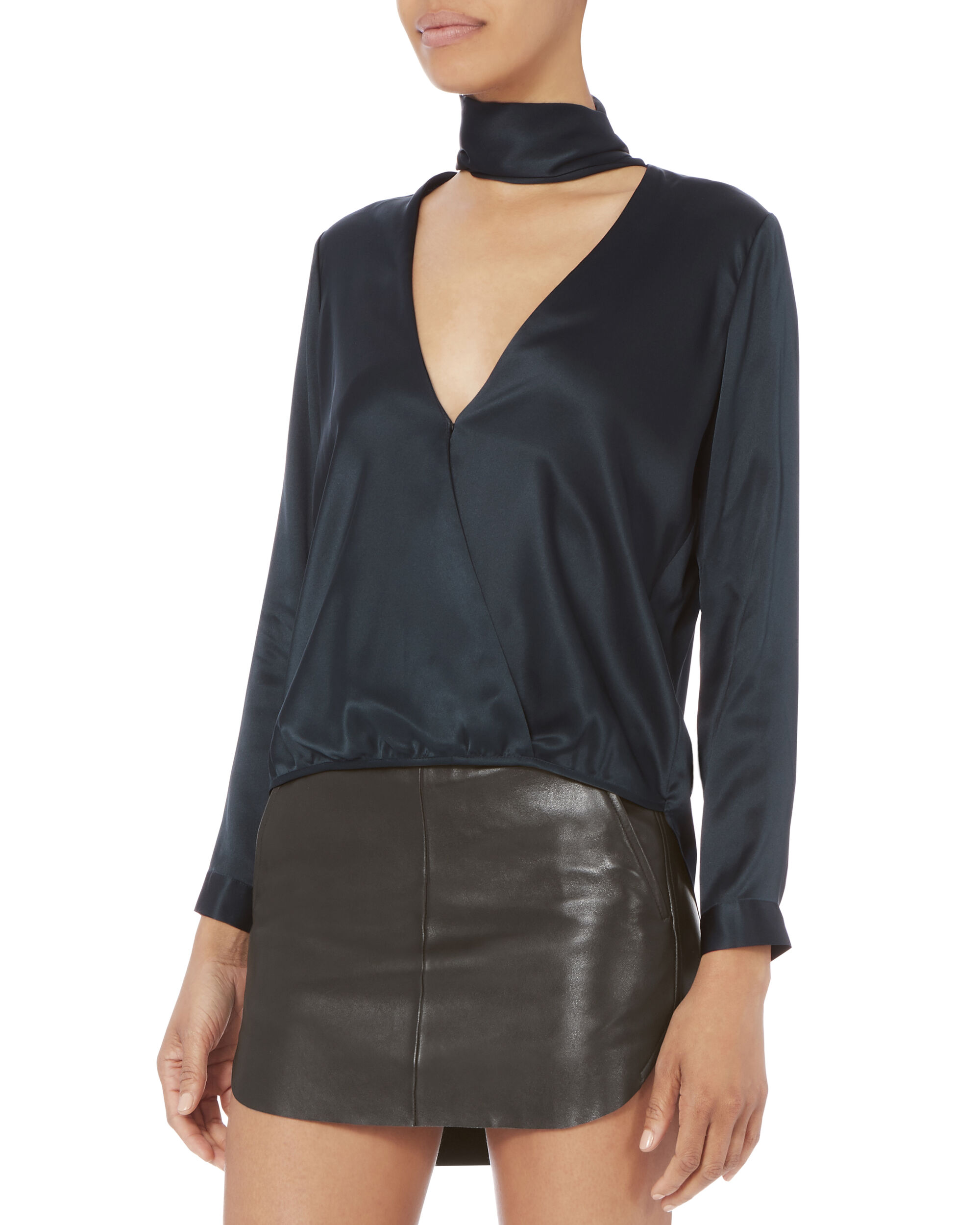 Tie Neck Wrap Blouse, NAVY, hi-res