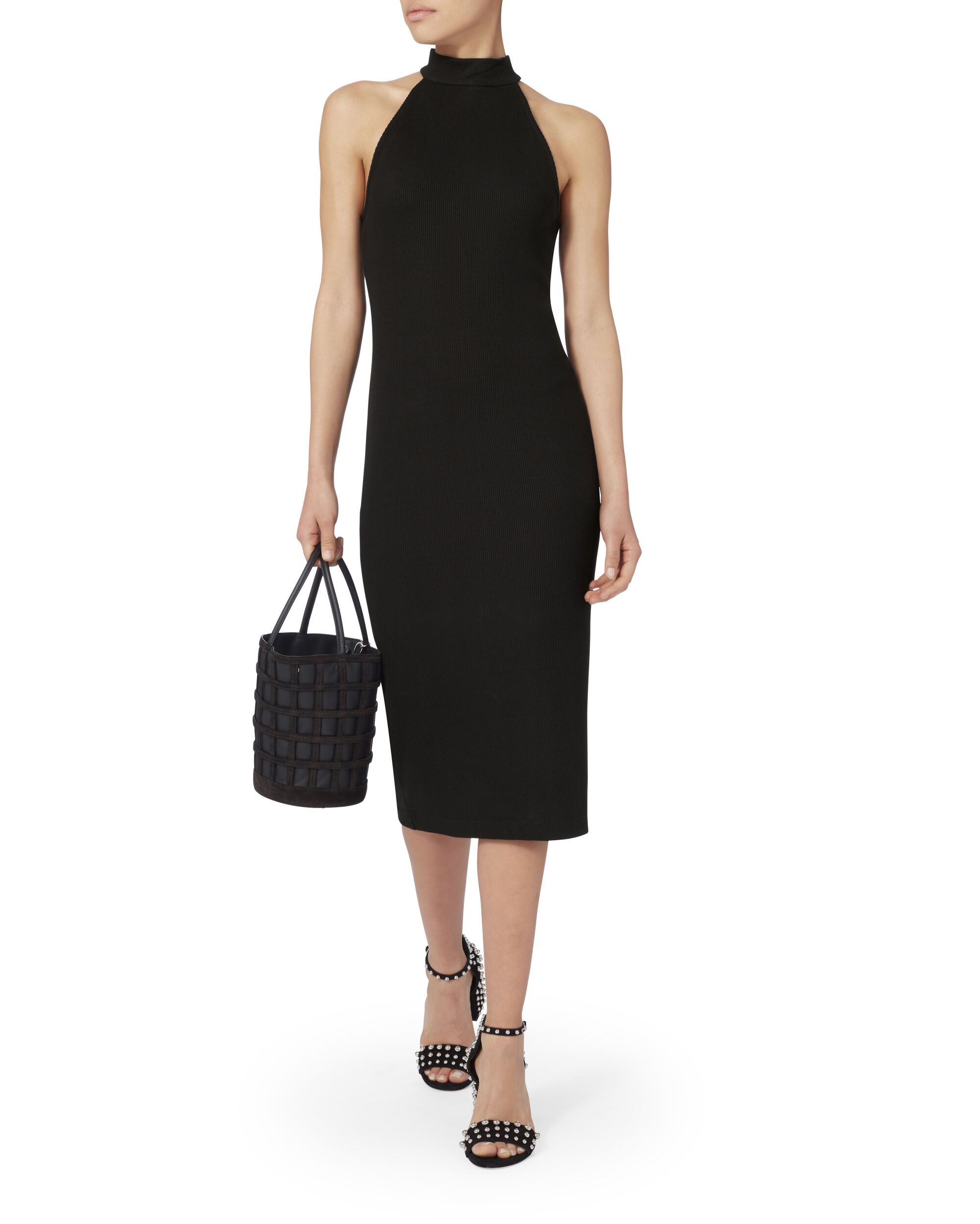 Iman Ribbed Halter Dress, , hi-res