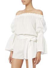 Carolina Off-The-Shoulder Romper, WHITE, hi-res