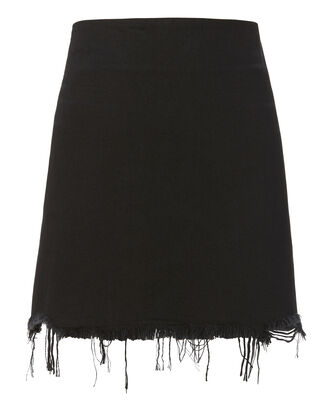 Faded Black Denim Mini Skirt, , hi-res
