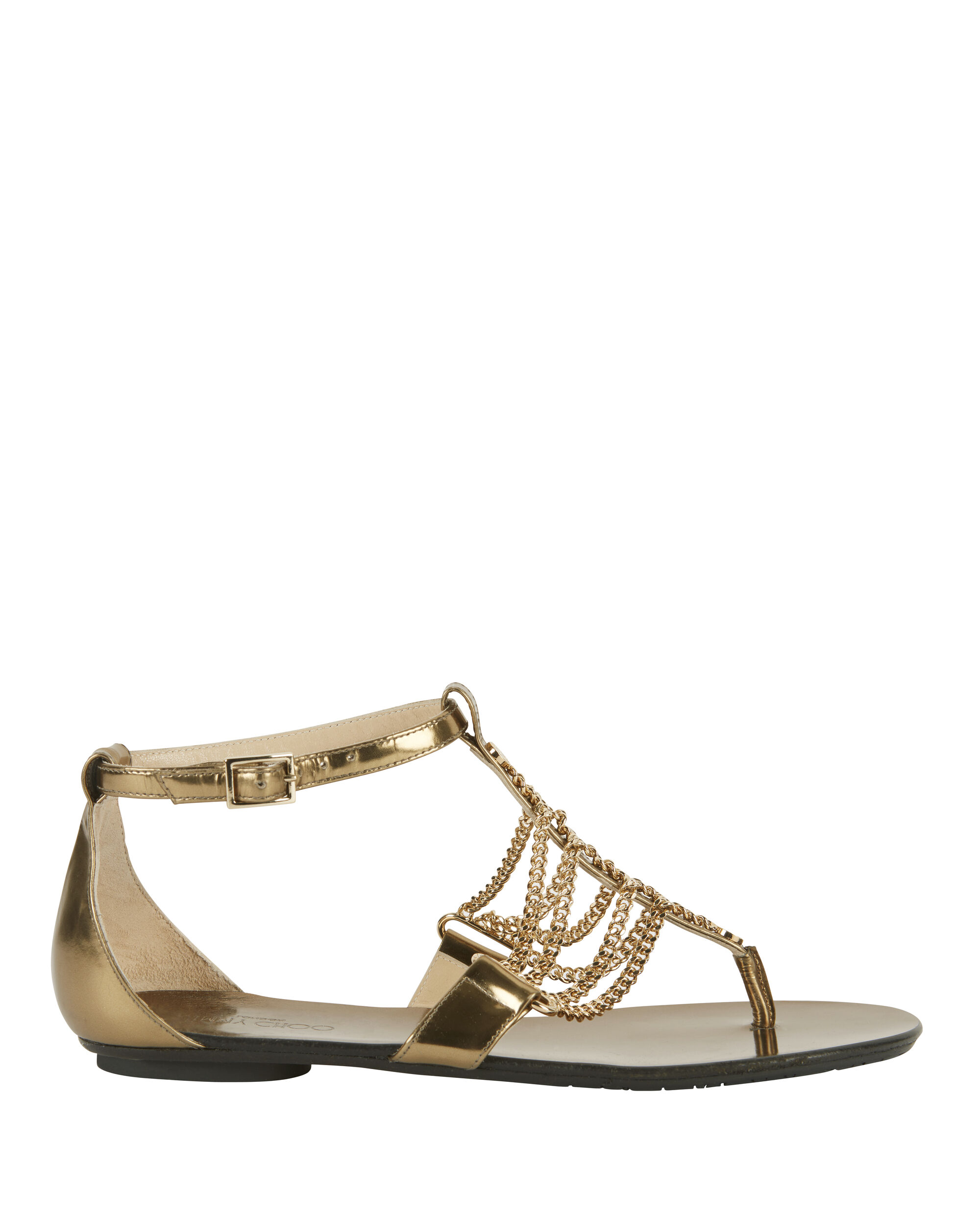 Wallace Chain Detail Metallic Leather Flat Sandals, GOLD, hi-res
