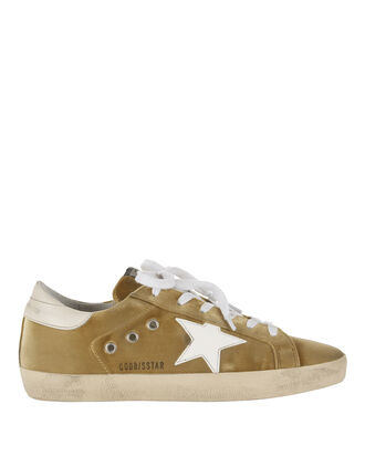 Superstar Dark Yellow Velvet Sneakers, MUSTARD, hi-res